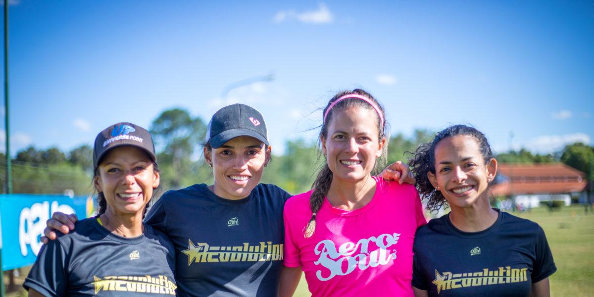 Left to right Alejandra Torres, Roxanna Gonzaloz, Carolina Dominguez, and Vanessa Espitia represent the master's contingent of Revolution and Aero Soul.